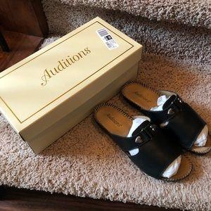 Auditions Sparkle Black Leather Sandals NIB 6 W